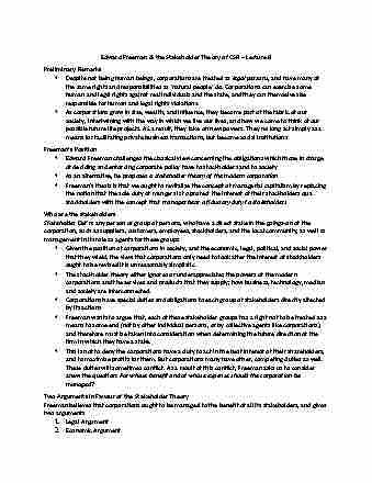edward freeman stakeholder theory pdf