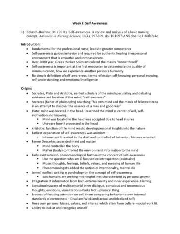 self awareness in nursing definition