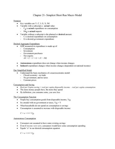 ec140-lecture-3-ch-21-simplest-short-run-model