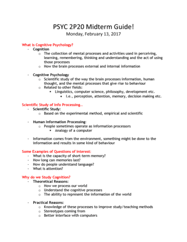 Psyc 2p20 Final Exam Guide Ultimate 30 Pages Long Study Guide