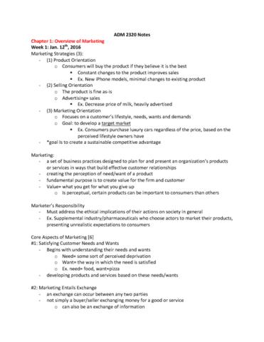 adm 2320 View notes - course outline_adm2320 m_marzena cedzynski from adm 2320 at university of ottawa adm 2320 m - marketing winter 2014 professor dr marzena cedzynski office dms 7113 telephone 613.