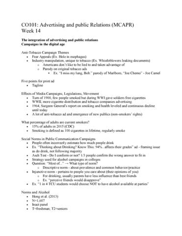 COM CO 101 Lecture 25: CO101 MCAPR: Lecture 25