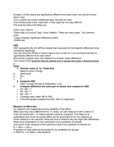 PSY202H1 Lecture Notes - Lecture 3: List Of Statistical Packages,  Statistical Significance, Repeated Measures Design