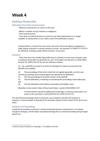 LAWS1003A Lecture Notes - Lecture 5: Malicious Prosecution, False  Imprisonment