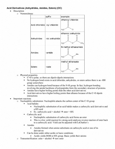 CHE 2AH Lecture Notes - Lecture 12: Nucleophilic Substitution, Acyl Halide,  Acyl Chloride