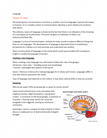 PSYCH 1X03 Lecture Notes - Lecture 5: Basal Ganglia, Amygdala, Feces