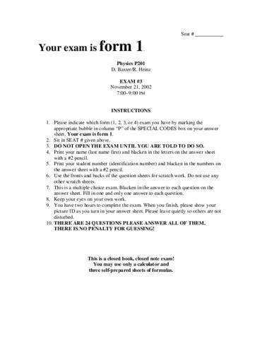 Physics P201 IU Exam 3 02