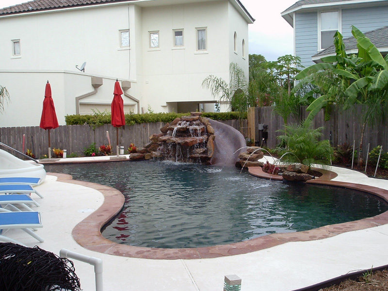 pool natural rock waterfall slide planter with jet - Swimming Pools With Waterfalls And Slide