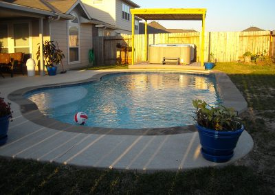 Pool-raised-beam-acrylic-textured-decking-Pergola-built-for-existing-above-ground-spa