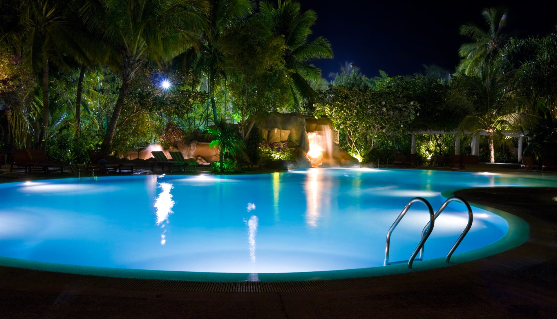 night time swimming pool
