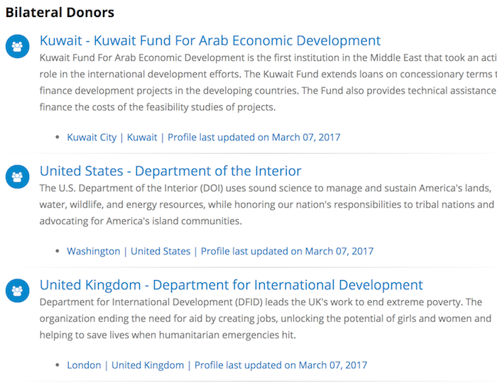 Bilateral Donor List