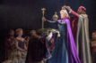 Patti Murin (Anna) and Caissie Levy (Elsa) with Jacob Smith in FROZEN on Broadway