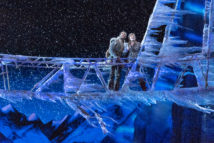 Noah J. Ricketts (Kristoff) and Patti Murin (Anna) in FROZEN on Broadway