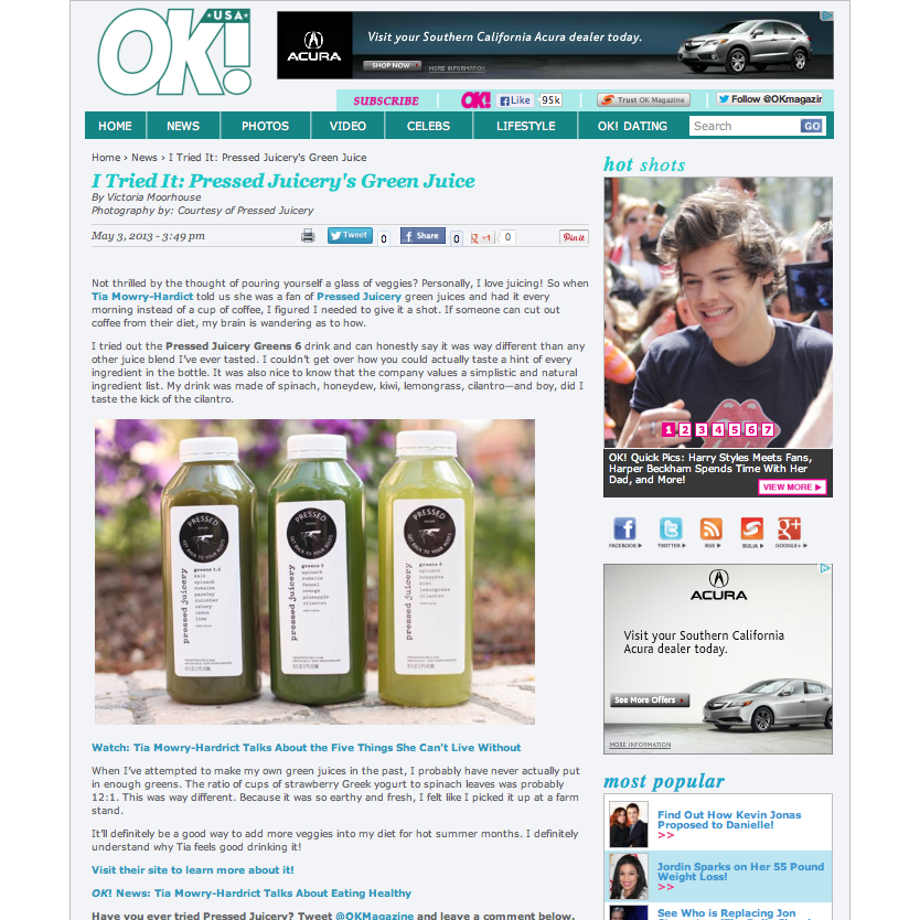Ok! Magazine:  I Tried It: Pressed Juicery's G