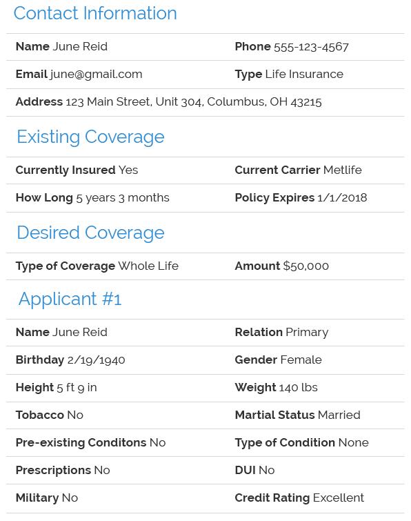 Life Insurance Lead