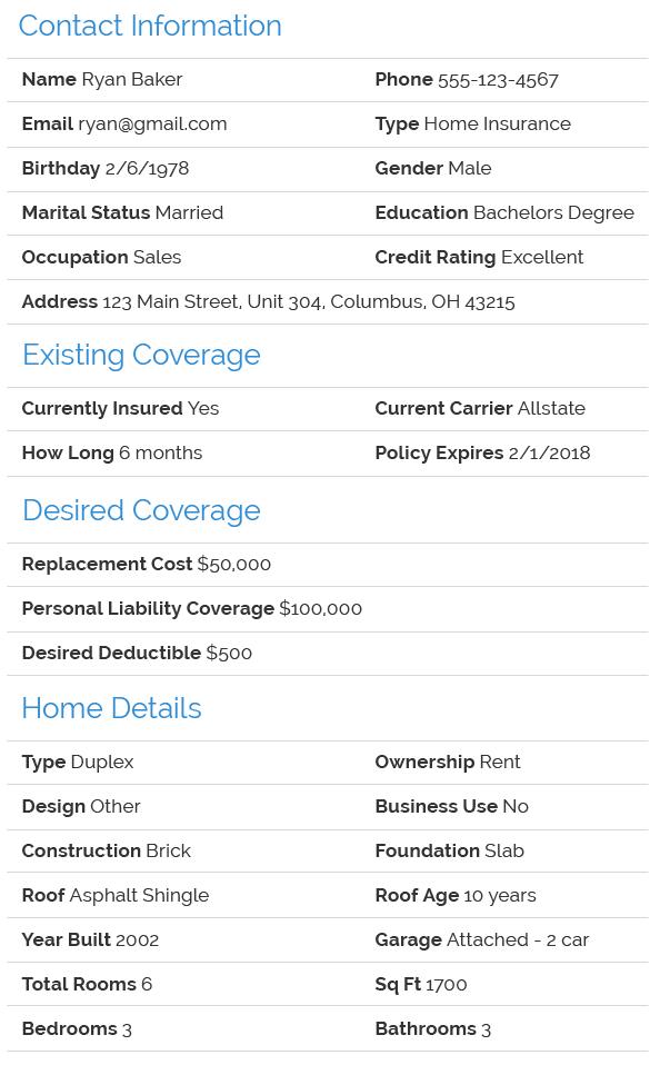 Renters Insurance Lead