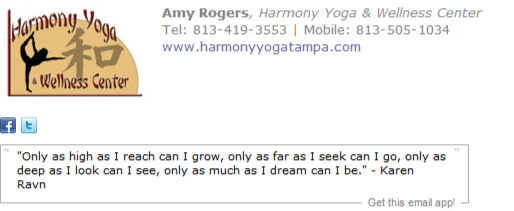 Yoga Center Email Signature Template