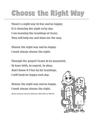 SONG - CTR A Lesson 1 - Choose the Right Way B&W