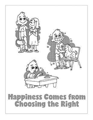 POSTER Happiness Comes from Choosing the Right B&W CTR A Lesson 01
