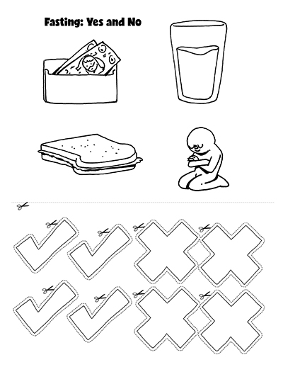 COLORING PAGE EXTRA ACTIVITY fasting- yes and no CTR Lesson 41