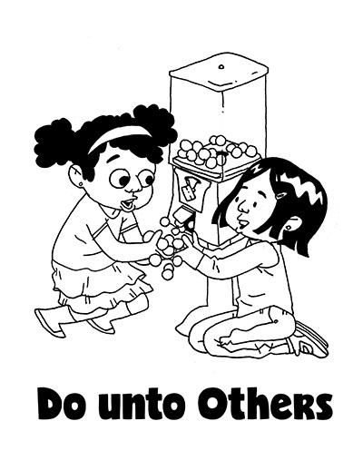 COLORING PAGE POSTER Do Unto Others CTR Lesson 44