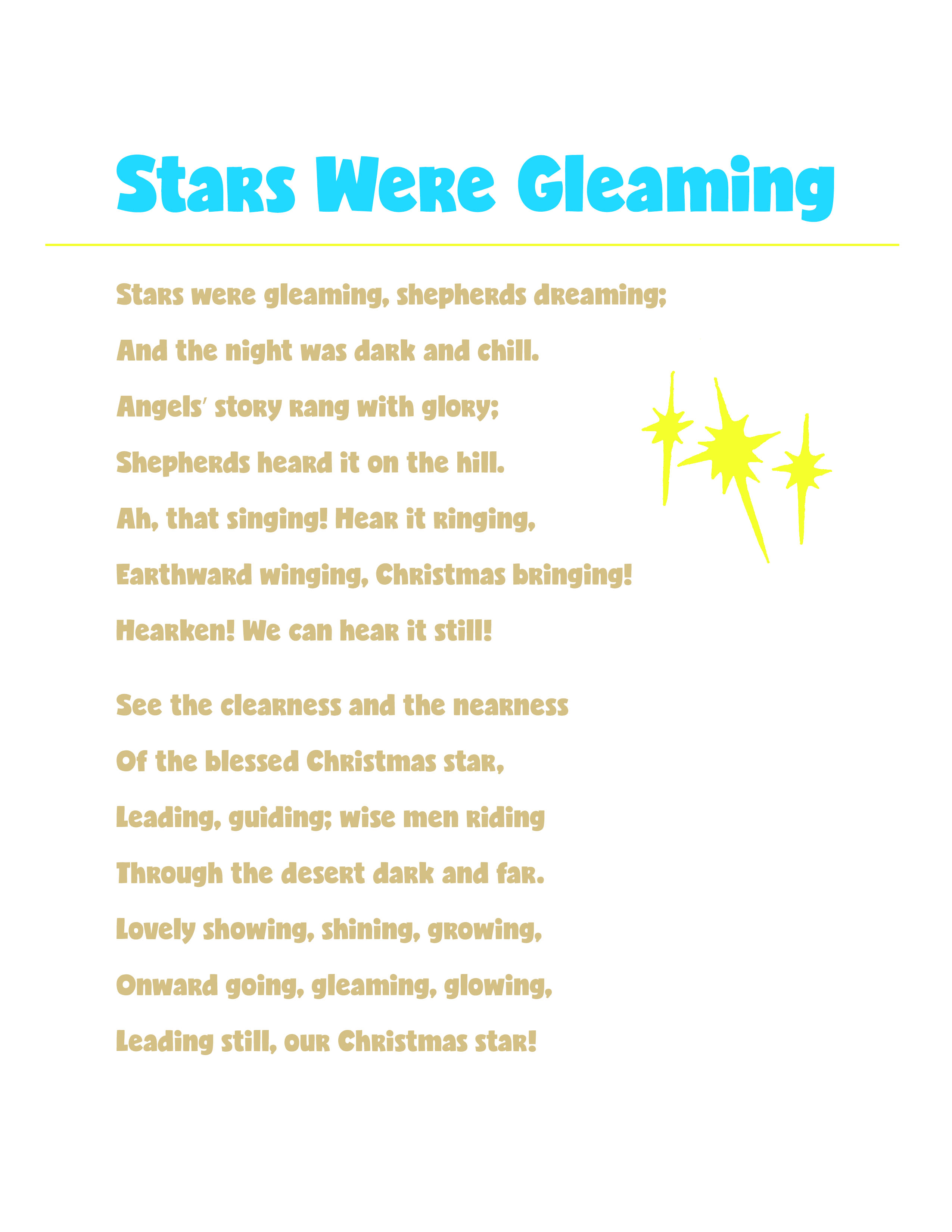 Stars Were Gleaming CTR Lesson 47