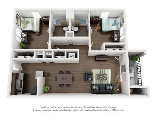 Kansas State University Apartments 2 Bed 2 Bath Collegiate Villa