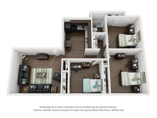 Kansas State University Apartments 3 Bed 1 Bath Collegiate Villa