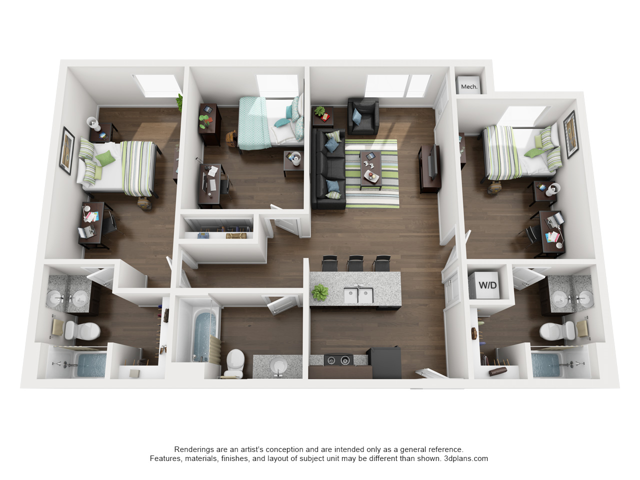 Oklahoma State University Apartments XL 3 Bed 3 Bath Elm