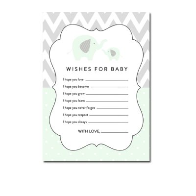 Baby-Shower-Mint-Green-Chevron-Gray-Elephant-Wishes-For-Baby