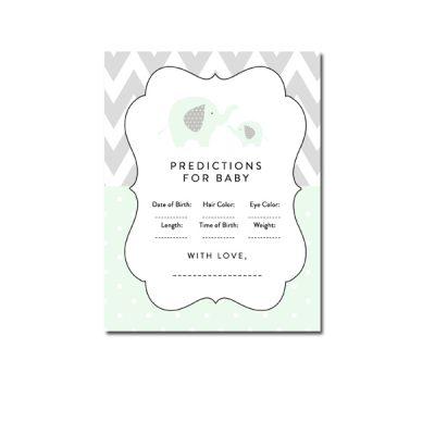 Baby-Shower-Mint-Green-Chevron-Gray-Elephant-Predictions