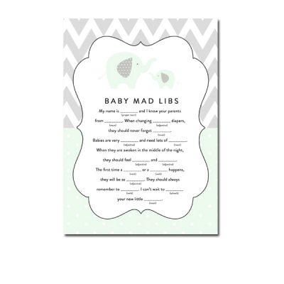 Baby-Shower-Mint-Green-Chevron-Gray-Elephant-Mad-Libs