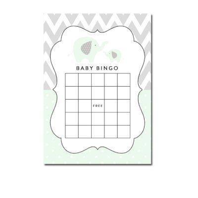 Baby-Shower-Mint-Green-Chevron-Gray-Elephant-Bingo