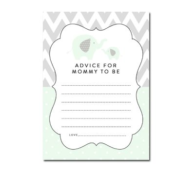 Baby-Shower-Mint-Green-Chevron-Gray-Elephant-Advice-For-Mommy