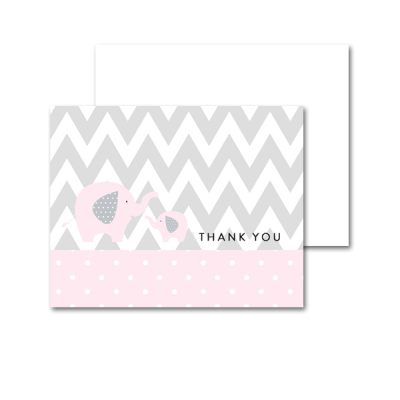 Baby-Shower-Pink-Gray-Elephant-Thank-You-Card