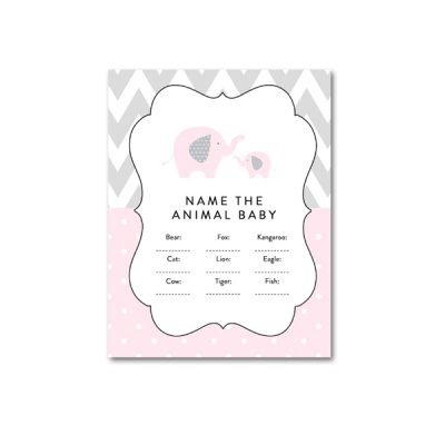 Baby-Shower-Pink-Gray-Elephant-Name-Animal-Baby