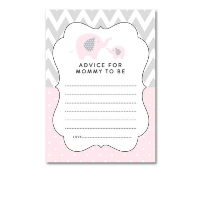 Baby-Shower-Pink-Gray-Elephant-Advice-For-Mommy