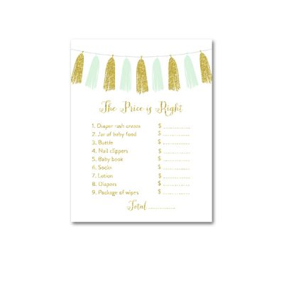 Baby-Shower-Printable-Mint-Gold-Tassel-Price-Is-Right