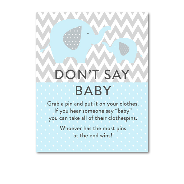 Baby Shower Light Blue Gray Chevron Elephant Baby Boy Game Dont