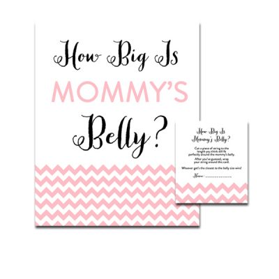 Baby-Shower-Pink-Chevron-How-Big-Is-Mommys-Belly