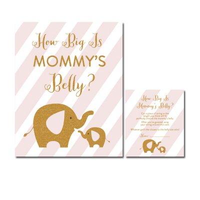 Baby-Shower-Pink-Gold-Elephant-How-Big-Is-Mommys-Belly