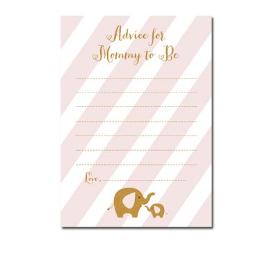 Baby-Shower-Pink-Gold-Elephant-Advice-For-Mommy