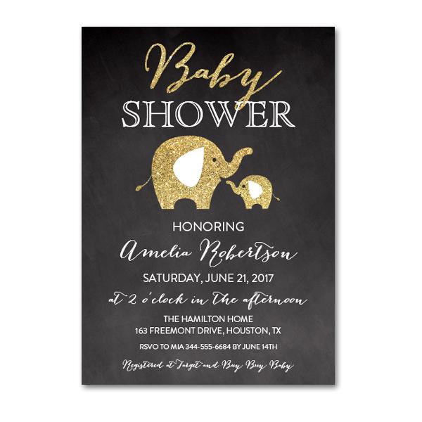 d3dda7bdd673 Editable PDF Baby Shower Invitation DIY - Chalkboard Gold Glitter Elephant  - Instant Download Printable- Edit in Adobe Reader - Instant Download  Printables