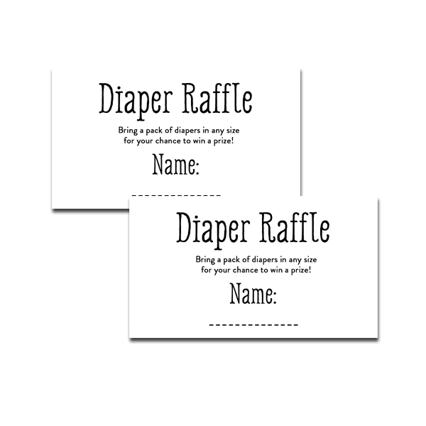 This is an image of Declarative Free Printable Diaper Raffle Tickets Black and White