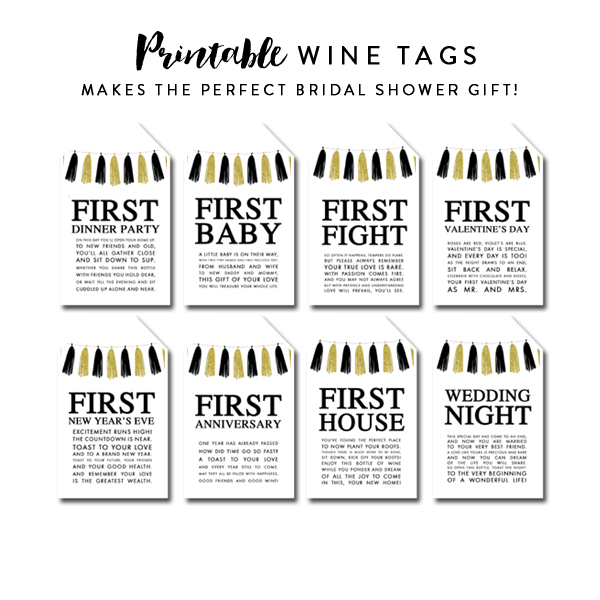 It is an image of Canny Free Printable Wine Tags for Bridal Shower