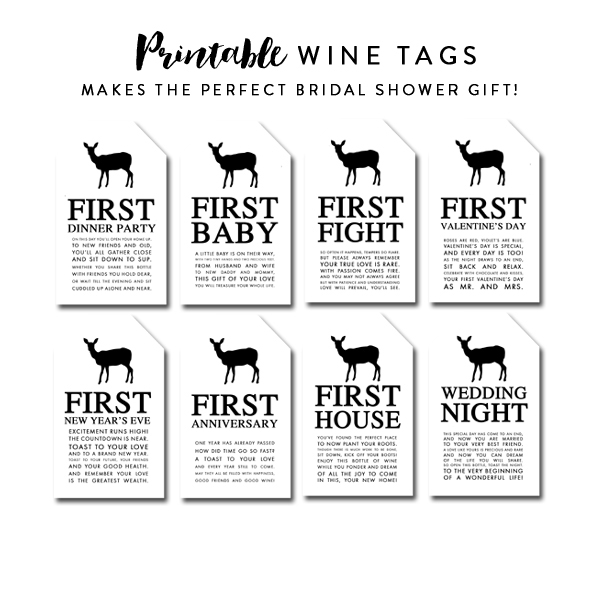 picture about Printable Wine Tags for Bridal Shower Gift called Wine Tags Suitable Bridal Shower Present Black White Deer Region Rustic  Instantaneous Obtain Printable