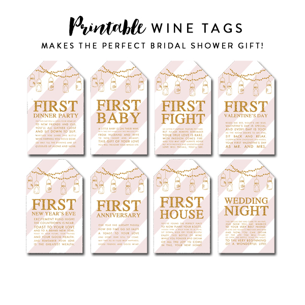 Modest image within free printable wine tags for bridal shower