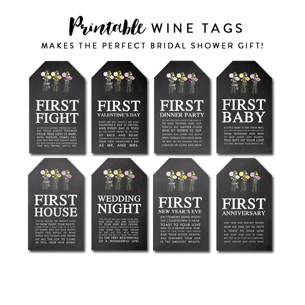 Delicate image pertaining to printable wine tags for bridal shower gift