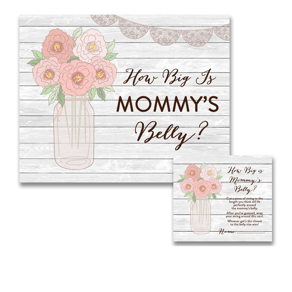 Baby Shower Country Rustic Wood Grain Mason Jar Flowers Game How
