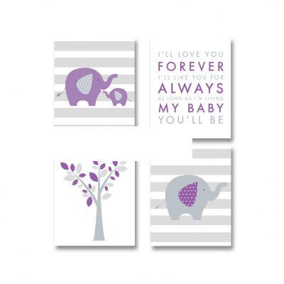 purple-gray-elephant-nursery-printables